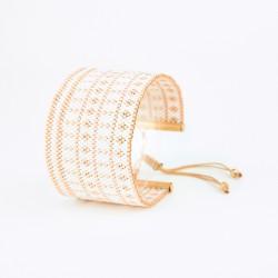 Bracelet Manchette Blanc et Or seul OPEN TO THE BEAUTIFUL Bijoux de créateur Artisan d'Art Paris