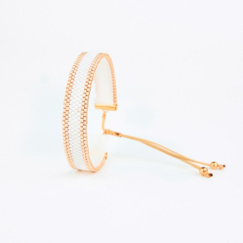 Bracelet Mini Blanc et Or seul OPEN TO THE BEAUTIFUL Bijoux de créateur Artisan d'Art Paris
