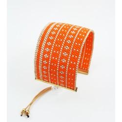 Bracelet Manchette Orange corail et Or mat seul OPEN TO THE BEAUTIFUL Bijoux de créateur Artisan d'Art Paris