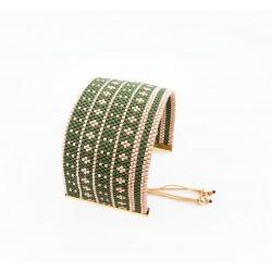 Bracelet Manchette Vert anglais et Or mat seul OPEN TO THE BEAUTIFUL Bijoux de créateur Artisan d'Art Paris
