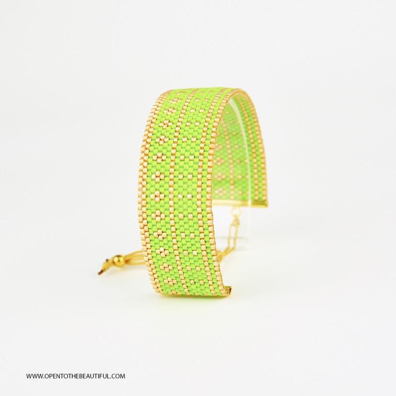 Bracelet Vert Acapulco et Or seul OPEN TO THE BEAUTIFUL Bijoux de créateur Artisan d'Art Paris