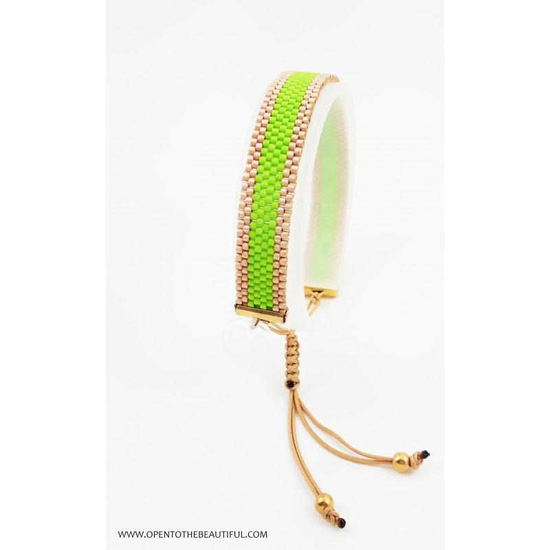Bracelet Mini Vert Acapulco et Or seul OPEN TO THE BEAUTIFUL Bijoux de créateur Artisan d'Art Paris