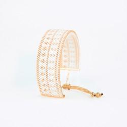 Bracelet Blanc et Or seul OPEN TO THE BEAUTIFUL Bijoux de créateur Artisan d'Art Paris