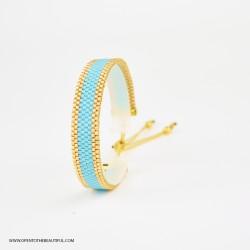Bracelet Bleu turquoise et Or seul OPEN TO THE BEAUTIFUL Bijoux de créateur Artisan d'Art Paris