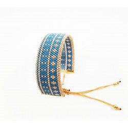 Bracelet Bleu canard et Or seul OPEN TO THE BEAUTIFUL Bijoux de créateur Artisan d'Art Paris