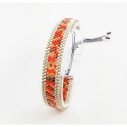 Bracelet de créateur Mini Orange Multicolore et Argent mat seul OPEN TO THE BEAUTIFUL Bijoux de créateur Artisan d'Art Paris