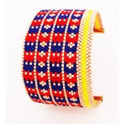 Bracelet Manchette Croix Bleu, Rouge, Jaune et Or mat seul2 OPEN TO THE BEAUTIFUL Bijoux de créateur Artisan d'Art Paris