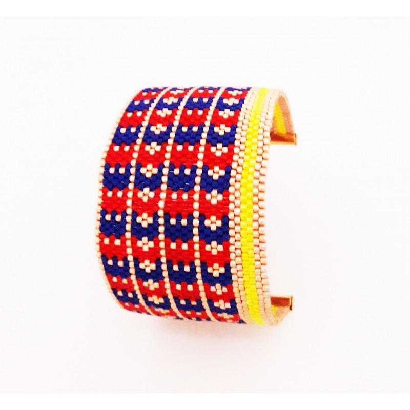Bracelet Manchette Croix Bleu, Rouge, Jaune et Or mat seul3 OPEN TO THE BEAUTIFUL Bijoux de créateur Artisan d'Art Paris