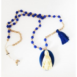 Sautoir Cristal de bohème bleu outremer et Or seul OPEN TO THE BEAUTIFUL Bijoux de créateur Artisan d'Art Paris