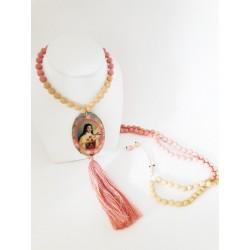 Sautoir Cristal de bohème rose thé et ivoire seul2 OPEN TO THE BEAUTIFUL Bijoux de créateur Artisan d'Art Paris