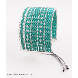 Bracelet Manchette Vert Mers du Sud Argent seul OPEN TO THE BEAUTIFUL Bijoux de créateur Artisan d'Art Paris