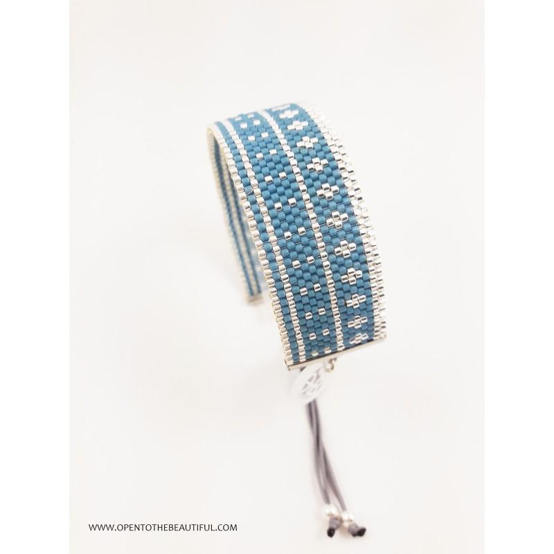 Bracelet Bleu canard Argent seul3 OPEN TO THE BEAUTIFUL Bijoux de créateur Artisan d'Art Paris