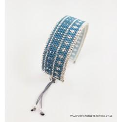Bracelet Bleu canard Argent seul2 OPEN TO THE BEAUTIFUL Bijoux de créateur Artisan d'Art Paris