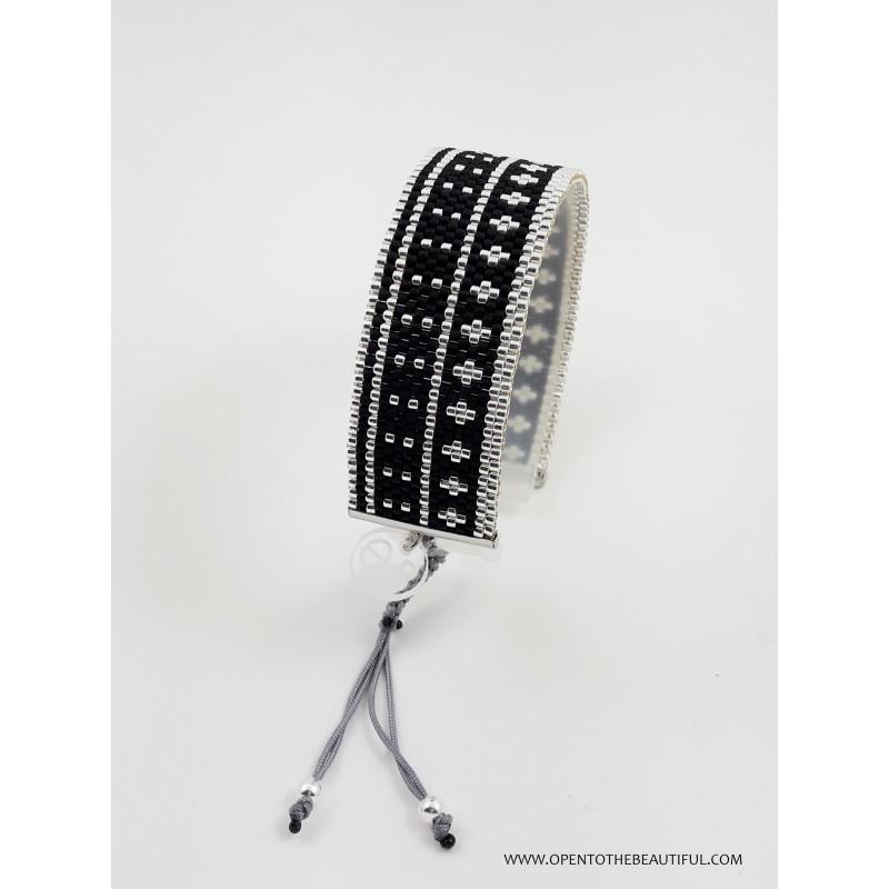 Bracelet Noir Argent seul OPEN TO THE BEAUTIFUL Bijoux de créateur Artisan d'Art Paris
