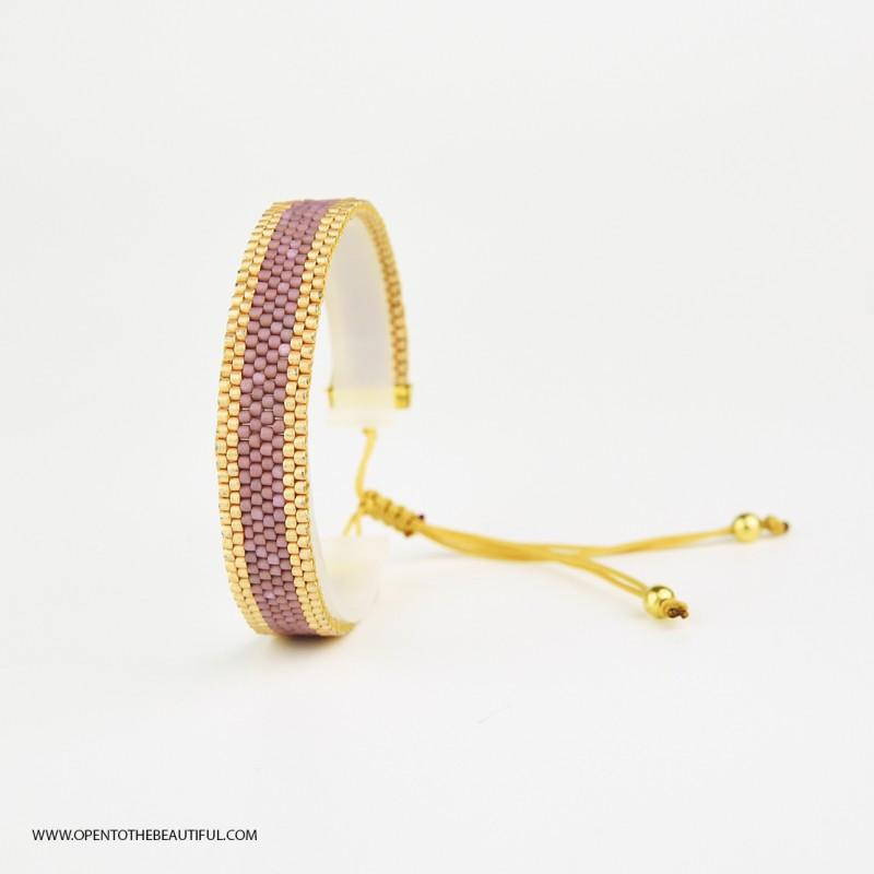 Bracelet Mini Parme poudré et Or seul OPEN TO THE BEAUTIFUL Bijoux de créateur Artisan d'Art Paris