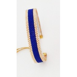 Bracelet Bleu outremer et Or seul OPEN TO THE BEAUTIFUL Bijoux de créateur Artisan d'Art Paris
