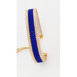 Bracelet Bleu outremer et Or seul OPEN TO THE BEAUTIFUL Bijoux de créateur Artisan d'Art Paris