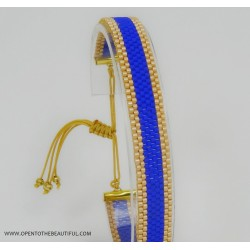 Bracelet Bleu outremer et Or seul 2 OPEN TO THE BEAUTIFUL Bijoux de créateur Artisan d'Art Paris