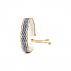 Bracelet Mini Bleu jean et Or seul OPEN TO THE BEAUTIFUL Bijoux de créateur Artisan d'Art Paris