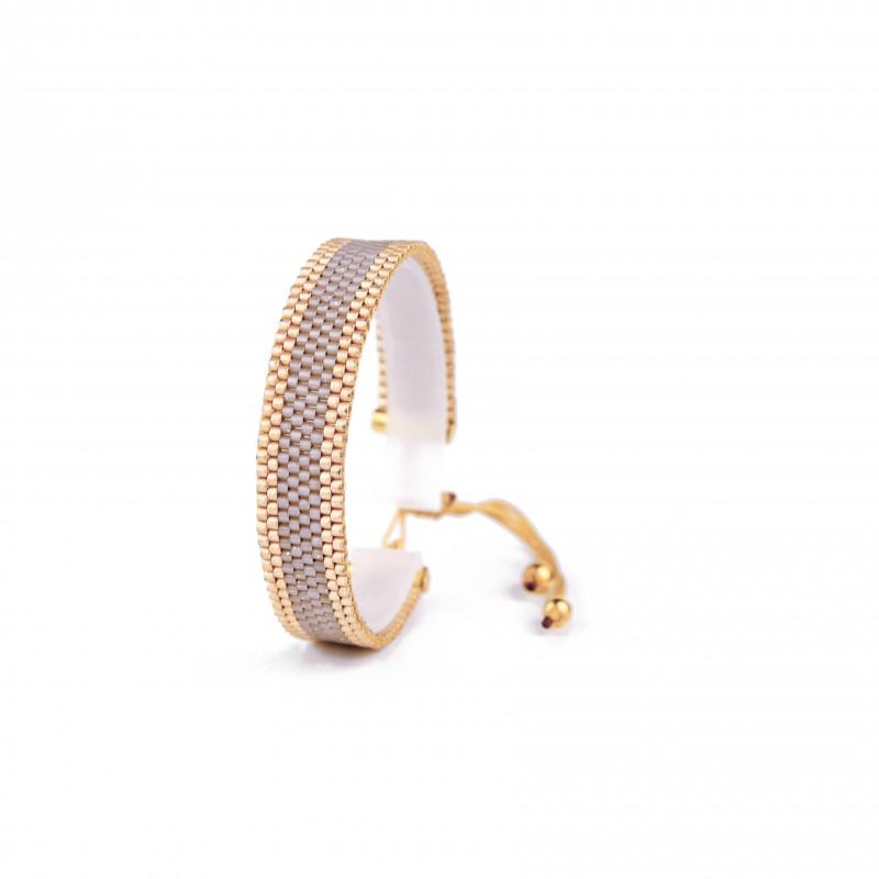 Bracelet Mini Nude taupe et Or seul OPEN TO THE BEAUTIFUL Bijoux de créateur Artisan d'Art Paris