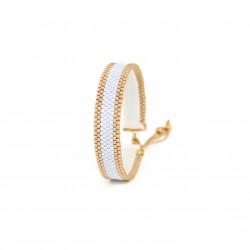 Bracelet Mini Bleu ciel et Or seul OPEN TO THE BEAUTIFUL Bijoux de créateur Artisan d'Art Paris