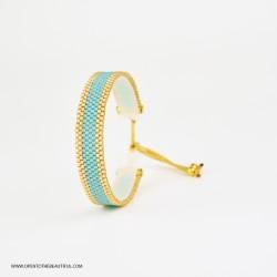 Bracelet Mini Bleu glacier et Or seul OPEN TO THE BEAUTIFUL Bijoux de créateur Artisan d'Art Paris