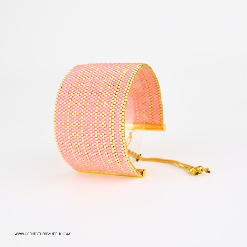 Bracelet Manchette Rose et Or seul OPEN TO THE BEAUTIFUL Bijoux de créateur Artisan d'Art Paris