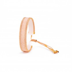 Bracelet Mini Nude rose et Or seul OPEN TO THE BEAUTIFUL Bijoux de créateur Artisan d'Art Paris