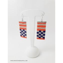 Boucles d'oreilles Violet métallisé, orange corail et Or mat seul OPEN TO THE BEAUTIFUL Bijoux de créateur Artisan d'Art Paris