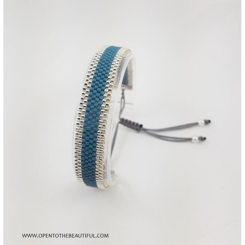 Bracelet Fin Bleu canard Argent seul OPEN TO THE BEAUTIFUL Bijoux de créateur Artisan d'Art Paris
