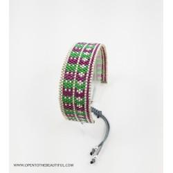 Bracelet Violet, Vert et Argent mat seul OPEN TO THE BEAUTIFUL Bijoux de créateur Artisan d'Art Paris