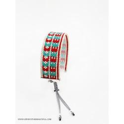 Bracelet Rouge pur, Vert tendre et Argent mat seul2 OPEN TO THE BEAUTIFUL Bijoux de créateur Artisan d'Art Paris