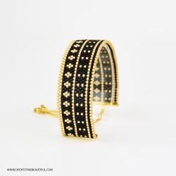 Bracelet Noir et Or OPEN TO THE BEAUTIFUL Bijoux de créateur Artisan d'Art Paris