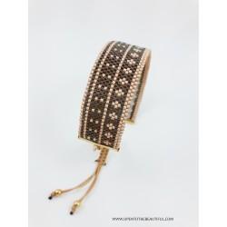 Bracelet Bombay Brun et Or OPEN TO THE BEAUTIFUL Bijoux de créateur Artisan d'Art Paris
