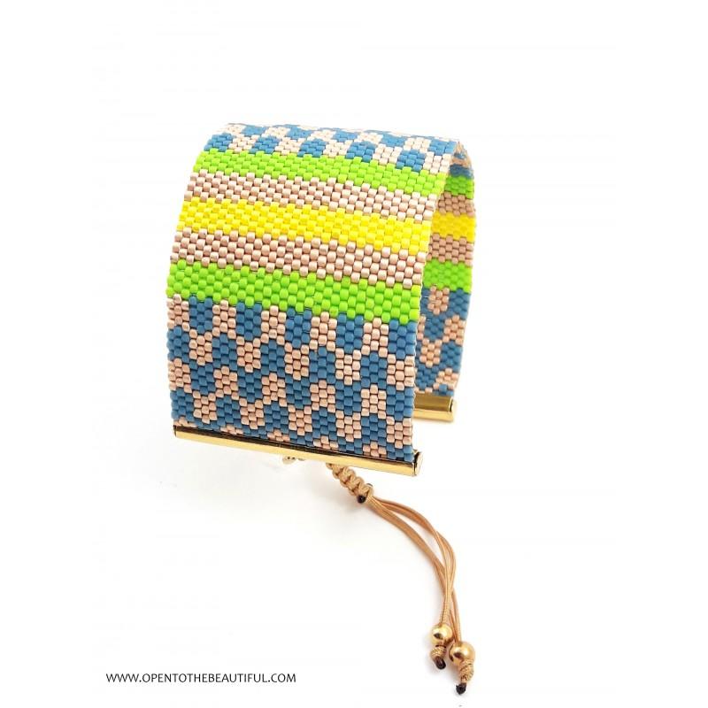 Bracelet Manchette Vert, Bleu, Jaune et Or mat seul OPEN TO THE BEAUTIFUL Bijoux de créateur Artisan d'Art Paris