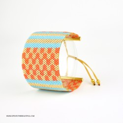 Bracelet Manchette Bleu turquoise Orange corail Or seul OPEN TO THE BEAUTIFUL Bijoux de créateur Artisan d'Art Paris