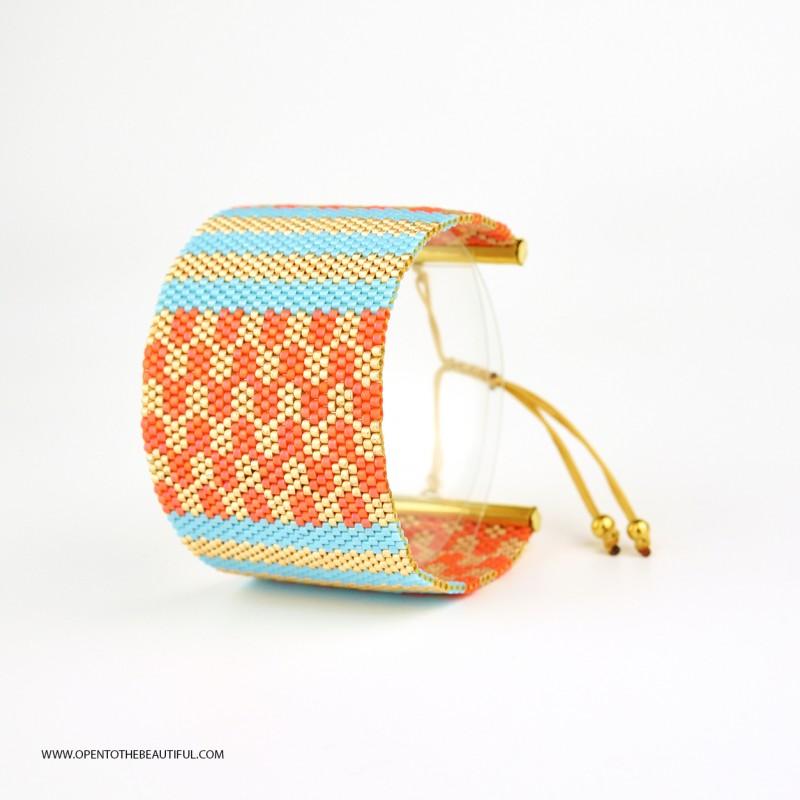 Bracelet Manchette Bleu turquoise Orange corail Or seul OPEN TO THE BEAUTIFUL Bijoux de créateur Artisan d'Art Paris