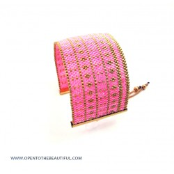 Bracelet Manchette Rose indien Or 24carats seul OPEN TO THE BEAUTIFUL Bijoux de créateur Artisan d'Art Paris