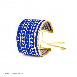 Bracelet Manchette Bleu outremer Or seul OPEN TO THE BEAUTIFUL Bijoux de créateur Artisan d'Art Paris