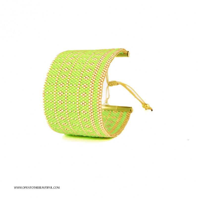 Bracelet Manchette de créateur Acapulco Vert et Or seul OPEN TO THE BEAUTIFUL Bijoux de créateur Artisan d'Art Paris