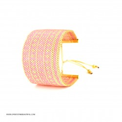 Bracelet Manchette Rose et Or seul OPEN TO THE BEAUTIFUL Bijoux de créateur Artisan d'Art Paris