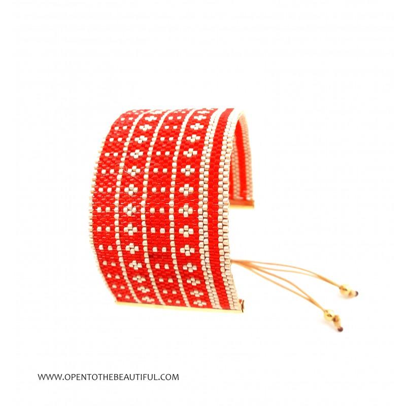 Bracelet Manchette Rouge et Or mat seul OPEN TO THE BEAUTIFUL Bijoux de créateur Artisan d'Art Paris
