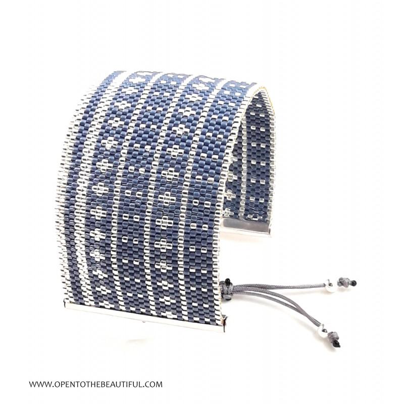 Bracelet Manchette Bleu Jean Argent seul OPEN TO THE BEAUTIFUL Bijoux de créateur Artisan d'Art Paris