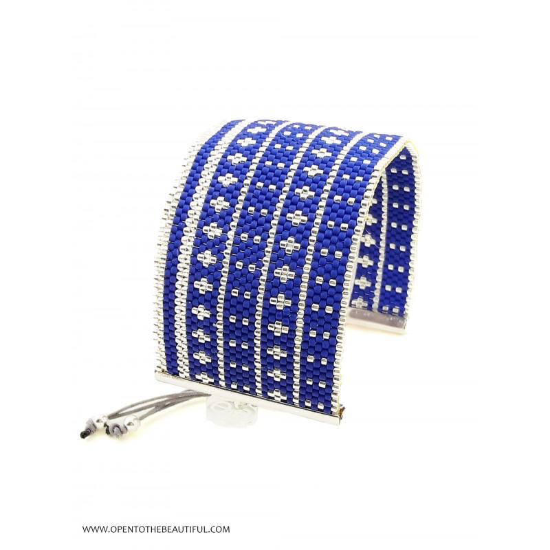 Bracelet Manchette Bleu outremer Argent seul OPEN TO THE BEAUTIFUL Bijoux de créateur Artisan d'Art Paris