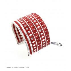 Bracelet Manchette Rouge Hermès Argent seul OPEN TO THE BEAUTIFUL Bijoux de créateur Artisan d'Art Paris