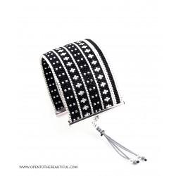 Bracelet Manchette Noir Argent seul OPEN TO THE BEAUTIFUL Bijoux de créateur Artisan d'Art Paris