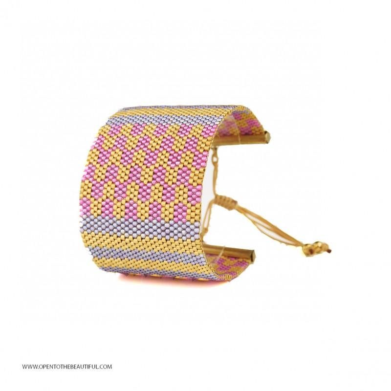 Bracelet Manchette Jaipur Polo Or 24 carats seul OPEN TO THE BEAUTIFUL Bijoux de créateur Artisan d'Art Paris