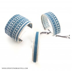 Bracelet Manchette Bleu canard Argent seul4 OPEN TO THE BEAUTIFUL Bijoux de créateur Artisan d'Art Paris