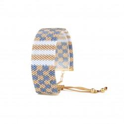 Bracelet Bleu ciel Or seul OPEN TO THE BEAUTIFUL Bijoux de créateur Artisan d'Art Paris