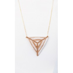 Collier ras-du-cou Triangle Mariage Blanc et Or seul OPEN TO THE BEAUTIFUL Bijoux de créateur Artisan d'Art Paris